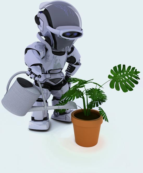 Hybrid robo advisor watering a plant dipicting automation makes life easier.