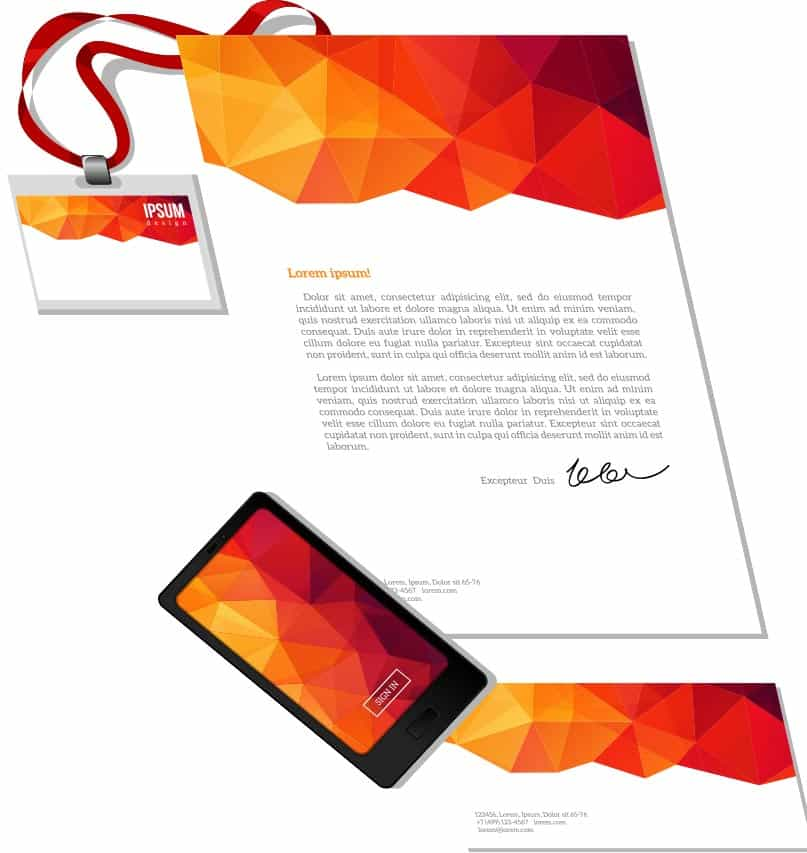 Set of custom branded mockup stationary you get with your Gsphere license