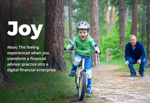 Grandfather watching his grandson riding a bicycle represents the joy experienced when you transform a financial advisor practise into a digital financial enterprise.
